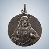 French Silver Jesus Sacred Heart Medal