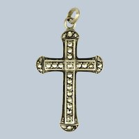 European Silver and Marcasite Cross Pendant