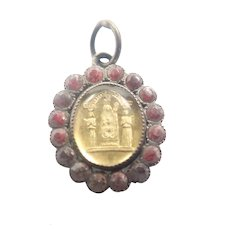 French Antique Virgin Mary Silver Pastes Charm