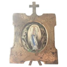 French 19C Mary Lourdes Ceramic Plaque on Stand