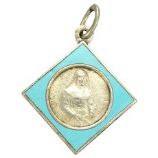French Enamel and Silver Plated St Julia Medal or Charm