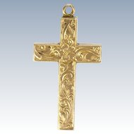 Victorian 9K Gold Engraved Cross -2.5 grams