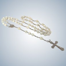 French Circa 1910 Silver and Mother of Pearl Rosary