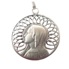French Silver Virgin Mary Medal/Pendant Necklace