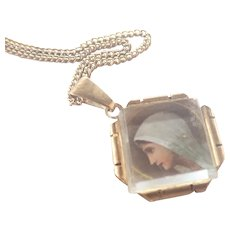 French Art Deco Portrait of Mary Pendant Necklace