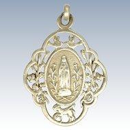 French Circa 1900 Silver Mary Medal - Lourdes Souvenir