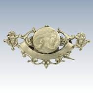 French Art Nouveau Silver Our Lady Lourdes Pin