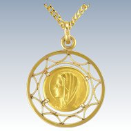 French 18k Gold Filled Mary Pendant -MURAT + Chain