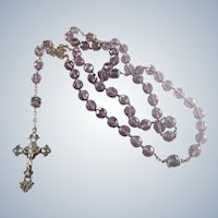 French Late Victorian Silver Clovers Amethyst Glass Rosary