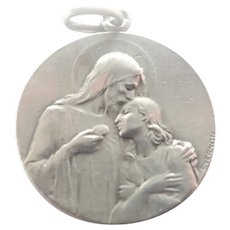 French Silver First Communion Medal - F VERNON