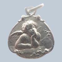 French 1909 Silver Cherub Lily of the Valley Medal or Charm