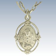 French Victorian Decorative Silver Chain and Communion Pendant