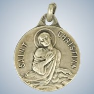 French Silver St. Christian Medal or Charm - LASSERRE