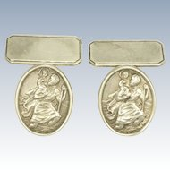 Silver St Christopher Cufflinks -Patron Saint of Travellers