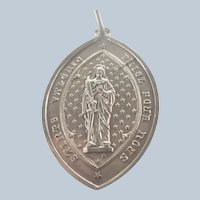 French 19C Silver St Valery Large Medal