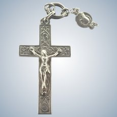 French Antique Silver Crucifix with Small Medal