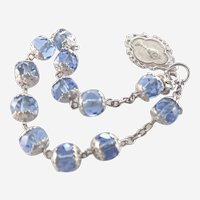 French Circa 1900 Silver and Glass Bead Dizainier  Rosary Bracelet