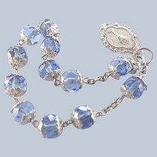 French Circa 1900 Silver and Glass Bead Dizainier  Rosary Bracelet