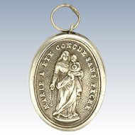 French Victorian Silver Mary & Jesus Reliquary Pendant