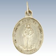 French 19C Silver Virgin Mary and Child Medal