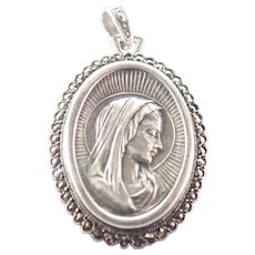 French Art Deco Silver Marcasites Virgin Mary Pendant