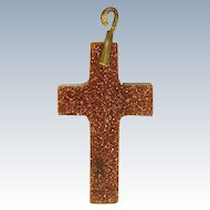 Goldstone Small Cross Pendant