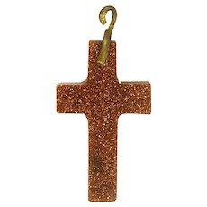 Goldstone Small Cross Pendant