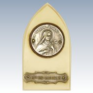 French Saint Teresa Silver Plated Standing Plaque