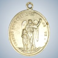French 19C Guardian Angel and St. Joseph Medal - 12.7 grams - RARE!