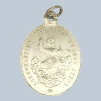 French 19C Silver Holy Infant and Guardian Angel Medal - RARE!