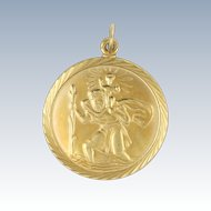 English 9K Gold St Christopher Medal Pendant