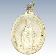 French 19C Virgin and Child Heart of Jesus Silver Medal