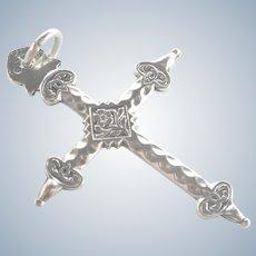 French Antique Silver 'Jeannette' Cross Pendant