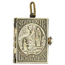 French Antique Silver Plate Lourdes Souvenir Booklet Pendant or Charm