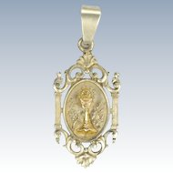 French 19C Silver and Gold Overlay Chalice First Communion Medal