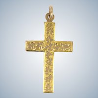 English Edwardian 9K Gold  Engraved Cross  Hallmarked 1911