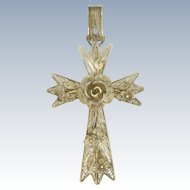 Victorian Silver Filigree Flowers Large Cross Pendant