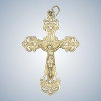 French Circa 1900 Small Silver Crucifix - Hallmarked