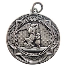French Antique Guardian Angel and St. Anne Silver Plated Medal