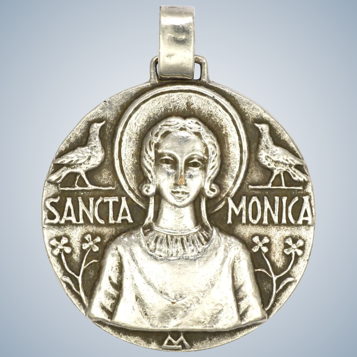 e5346d45f0b French Saint Monica Silver Plated Large Medal or Pendant : Suzy's ...