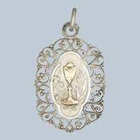 French Circa 1900 Silver with Gold Overlay Communion Medal