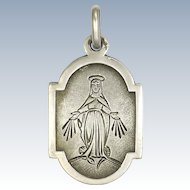 French 19C Silver Naive Miraculous Medal