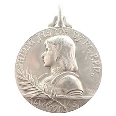 French Joan of Arc Large Silver Plated Medal