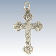 English Engraved Sterling Silver Small Cross