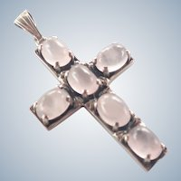 Rose Quartz Silver Cross Pendant