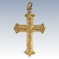 9K Gold Engraved Cross - 4.3 grams