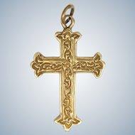 9K Gold Engraved Cross - 4.3 grams