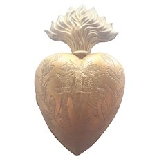French 19C Ex-Voto Flaming Heart in Gilded Brass