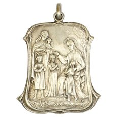 French Arts and Crafts Silvered Brass Large Medal of Jesus and Children