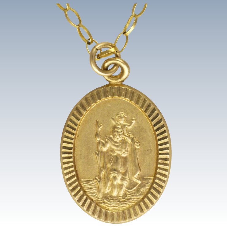 9k gold st christopher pendant necklace suzys treasures on earth 9k gold st christopher pendant necklace aloadofball Gallery